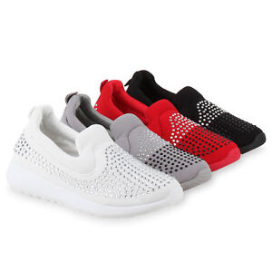 Bequeme Damen Slip-ons Strass Sportschuhe Slipper Trend 810777 Schuhe