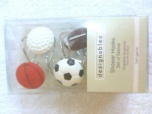 Details About Sports Shower Curtain Hooks Football Baseball Soccer Basketball Set Of 12