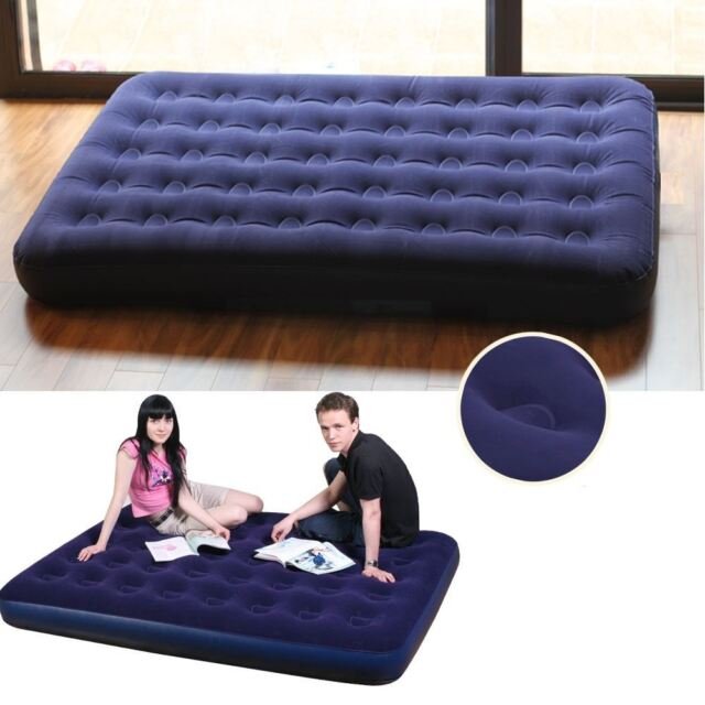 NEW RELAX INFLATABLE DOUBLE FLOCKED AIR BED CAMPING LUXURY RELAX AIRBED MATTRESS
