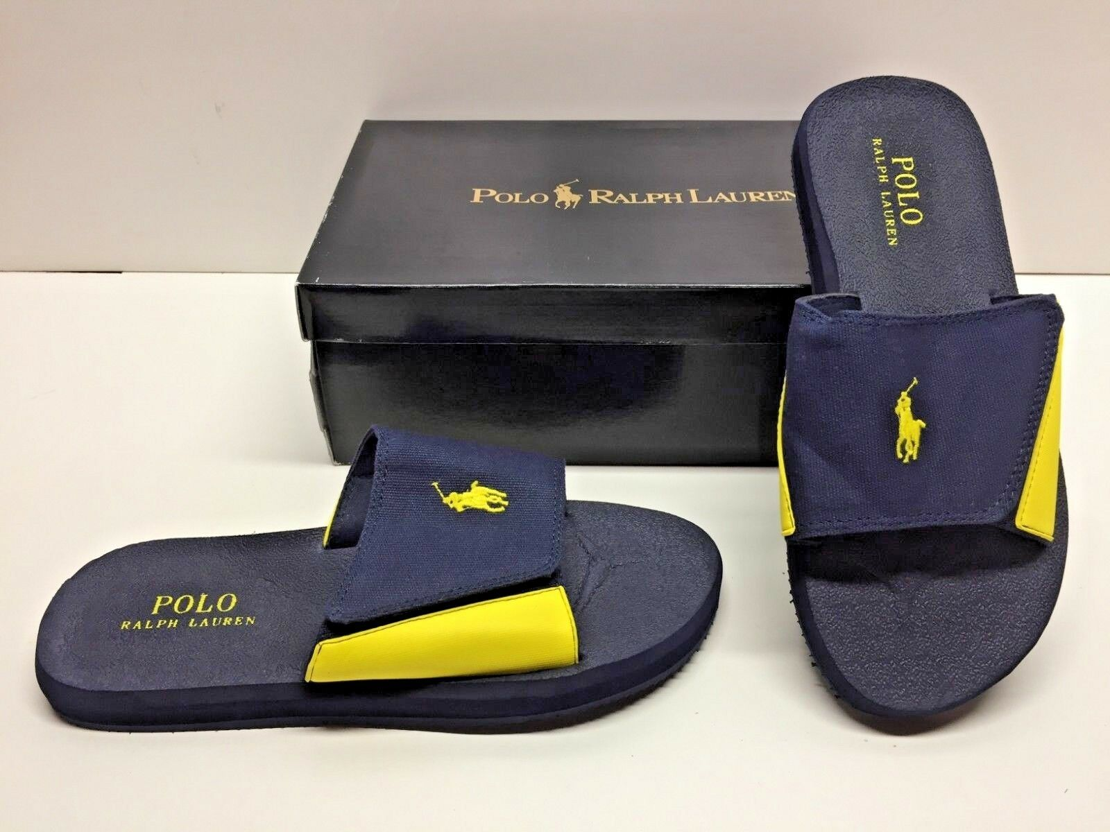 Ralph Lauren Polo Alim Navy Yellow Canvas Slides Slip On Sandals shoes Mens 8