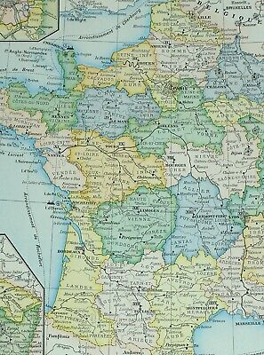 Rennes Map Of France.1905 Map France Military Mayenne Rennes Orleans Somme Rouen Nancy