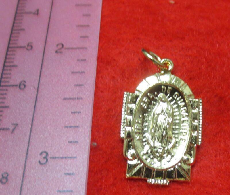 14kt Gold Ep Guadalupe Charm Pendant Medallion -1574