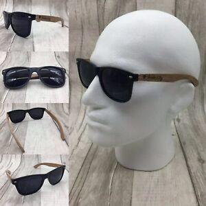 Men's Handcrafted Zebra Wood Arms, Black Frame Polarized Sunglasses Full UV 400