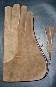 New-Falconry-Right-Hand-Glove-Suede-2-Layer-12-034-Long-Medium-Size-Buffed-Brown