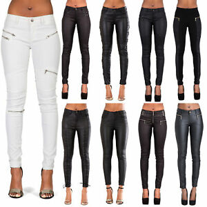 WOMENS-LEATHER-TROUSERS-BLACK-WET-LOOK-LEGGINGS-JEANS-LADIES-SLIM-FIT-SIZE-8-14