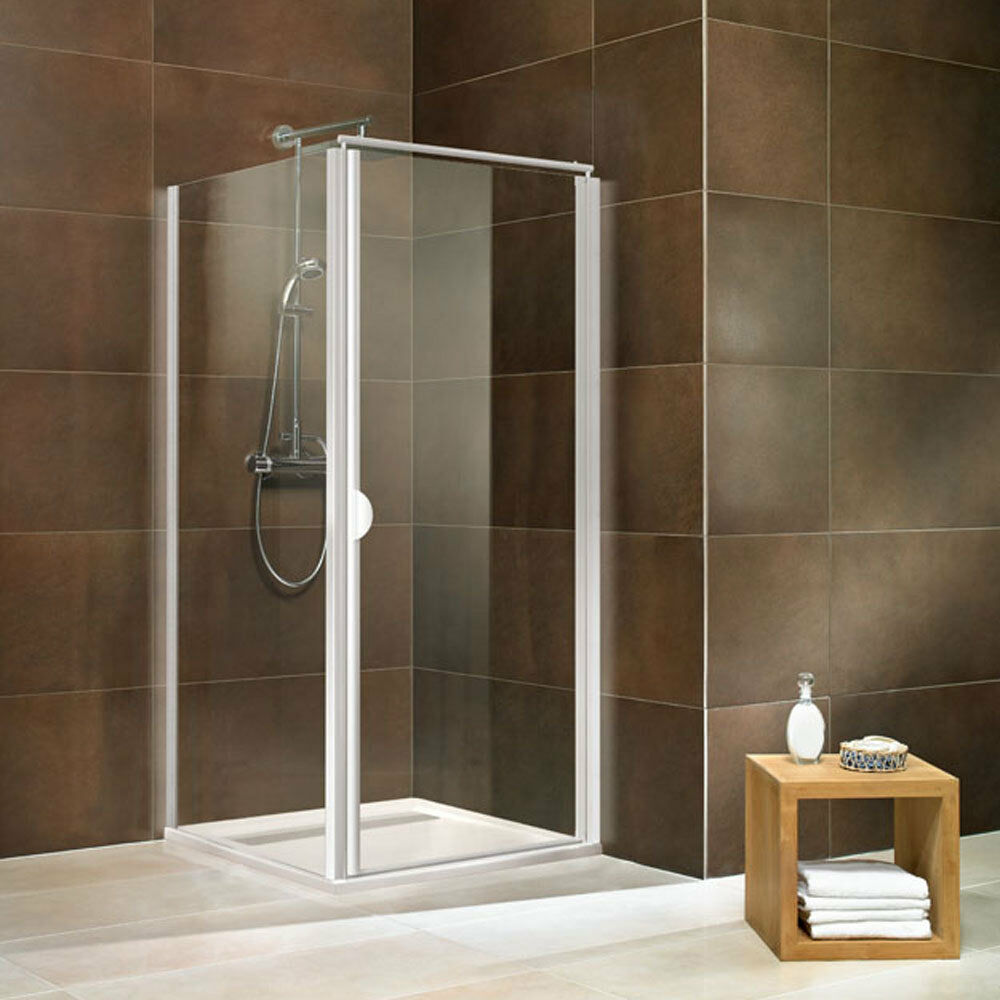 Duschkabine Duschtür Duschabtrennung Drehtür mit Seitenwand 90x90 80x80 weiß alu