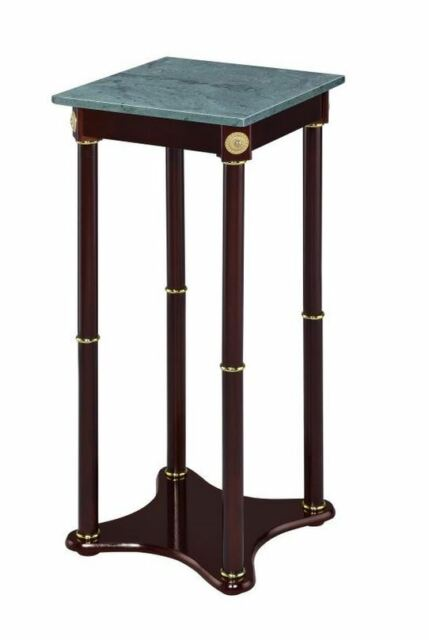 Marble Top Round Plant Stand Merlot And Green