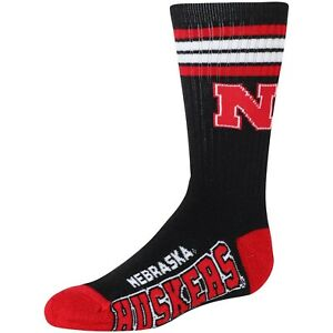 Nebraska-Cornhuskers-NCAA-Black-Deuce-Four-Stripe-Crew-Socks