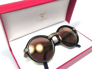 540bcd1366 Image is loading NEW-VINTAGE-CARTIER-CABRIOLET-ROUND-BLACK-52MM-SUNGLASSES-