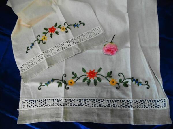 *atheliercortez*prezioso Set Asciugamani Lino Ricamato A Mano Uncinetto Ecru'-50 Elegante En Estilo