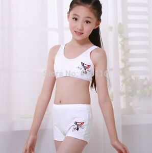 Image is loading Puberty-Girl-Cotton-Soft-Bra-Pant-Student-Underwear- 1b37f847c