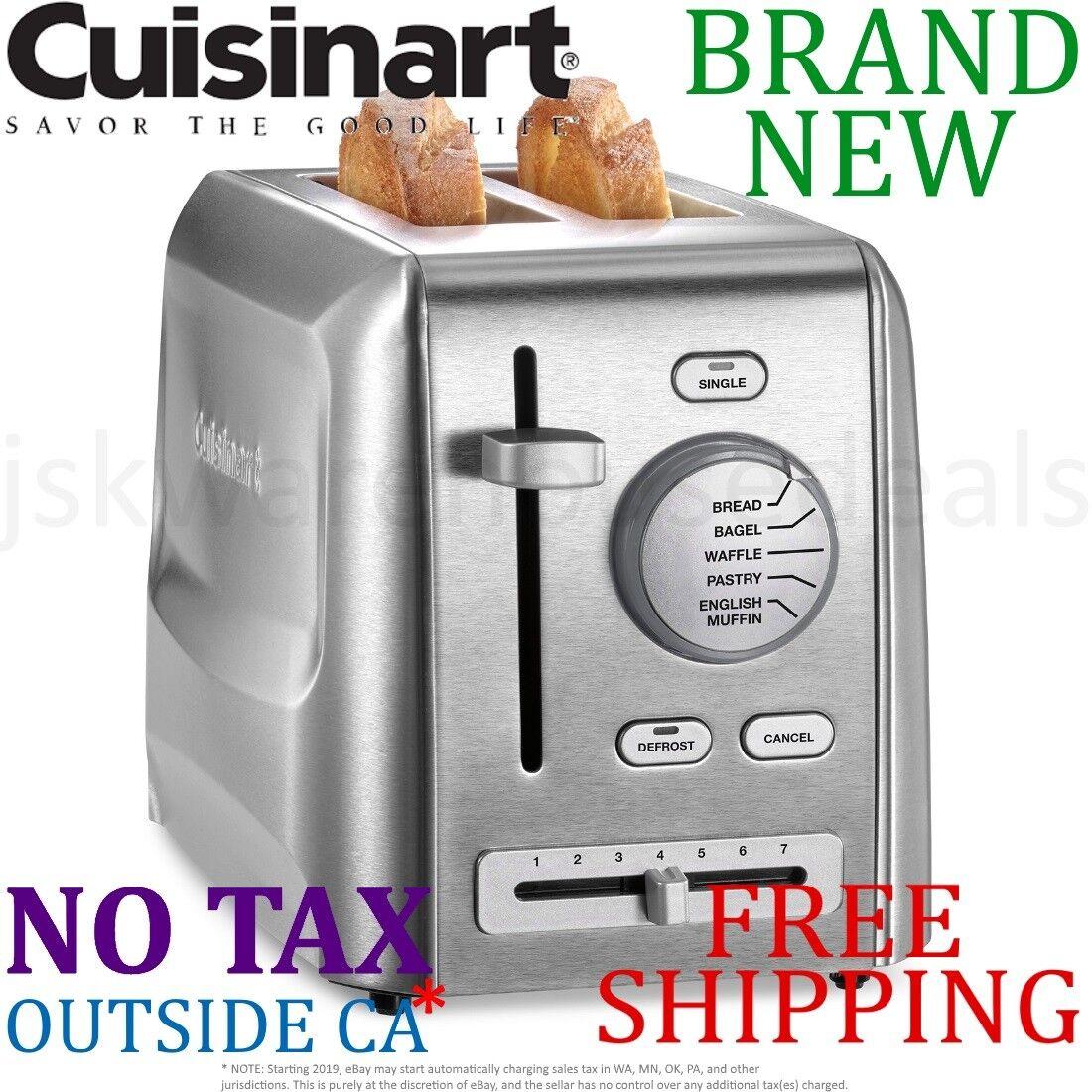 New Cuisinart 2-Slice Metal TOASTER Stainless Steel Bagel Waffle Bread 7 Mode
