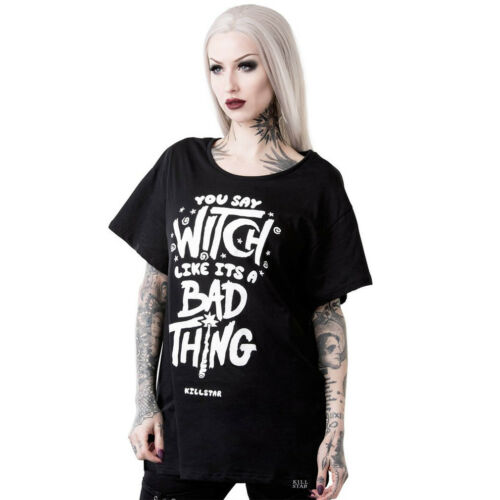 Killstar Goth Gothic Okkult Punk T-Shirt Relaxed Top Who/'s Bad Wiccan Witch