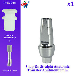 RS Dental Implant Snap On Straight Transfer Anatomic Abutment Collar 2mm