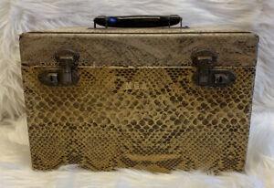 Vintage? Train Case Vanity Cosmetic Make Up  Animal Print Wooden Luggage Carrier