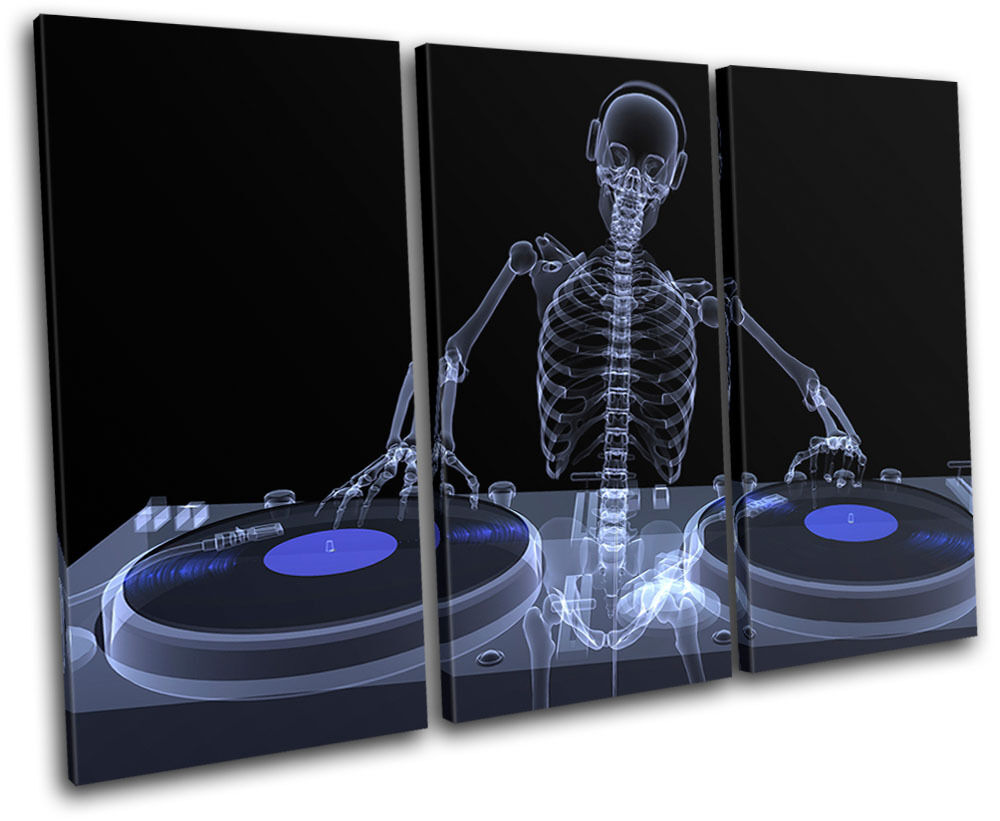 Skeleton DJ Club TREBLE Leinwand Wand Kunst Bild drucken