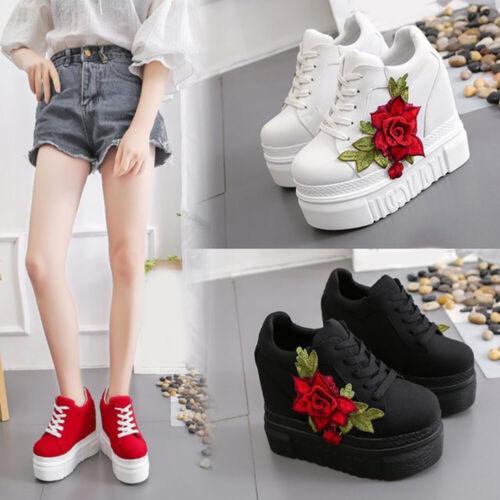 Fashion Talon Haut Casual Wedge Sneakers augmentation fleur épais Chaussures compensées rouge