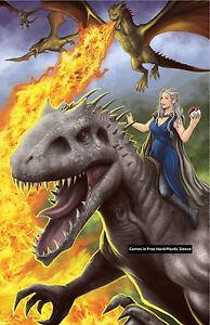 Daenerys-Targaryen-Indominus-Rex-Glossy-Print-11-x-17-In-Hard-Plastic-Sleeve