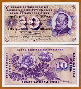 1970 Switzerland 10 Franken UNC P-45p