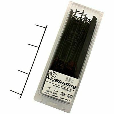 9741630 25 Spines Black 200 Sheet Capacity GBC VeloBind Easy-Editing Reclosable Binding Spines 4 Pin Spines