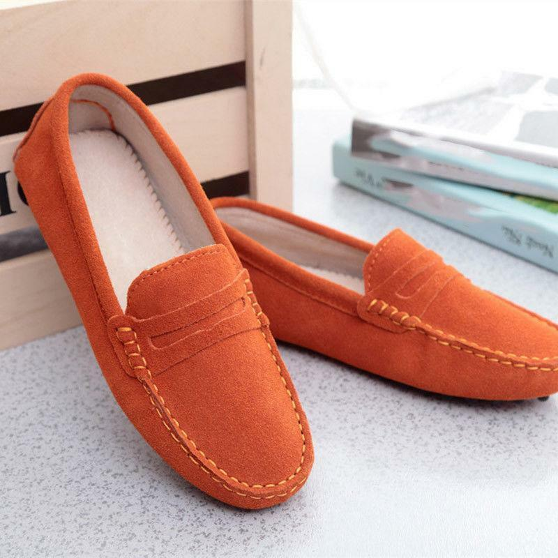 Womens slip on Loafers soft-soled Flats Suede Driving Moccasins Casual shoes NEW