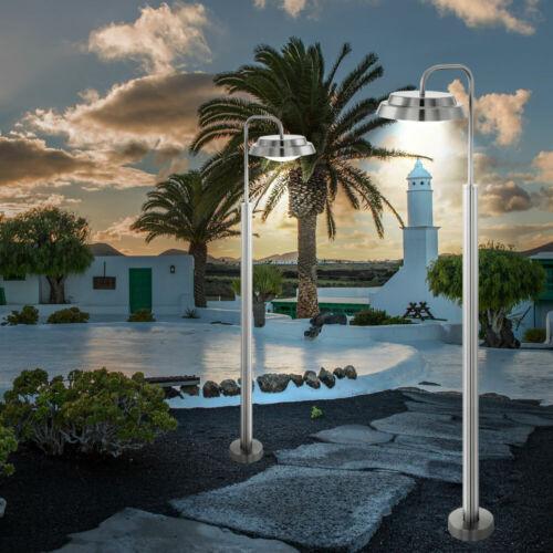 Luxus 2er Set LED Außen Bereich Steh Lampen Edelstahl Stand Garten Big Light