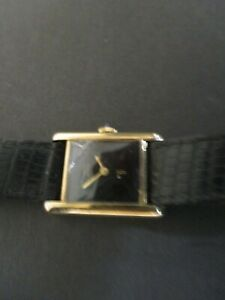 Cartier-Must-de-Ladies-Argent-925-Sterling-Vermeil-Tank-Strap-Quartz-Watch