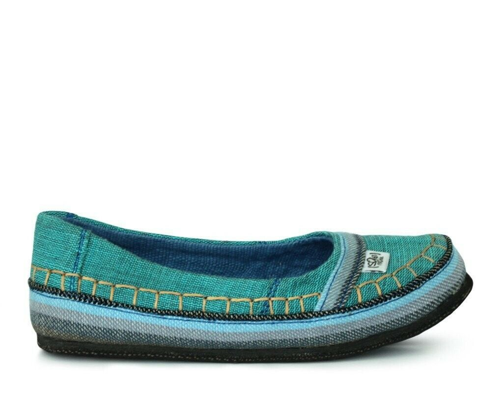 Sole Rebels Teal Turquoise Flats, Womens UK 5.5 (ethical, vegan)