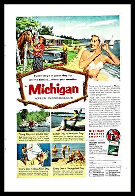 1955 Michigan Water Wonderland Vintage Ad Vacation Fishing Great Lakes Travel 55 *You Choose Frame-Mat Colors-Free USA S/&H*