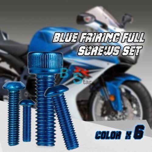 102PCS Blue Full Fairing Bolt Set Fasteners Nuts Screws KAWASAKI 650R 06-08