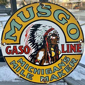 VINTAGE MUSGO INDIAN GASOLINE PORCELAIN GAS OIL SERVICE PUMP PLATE SIGN AD