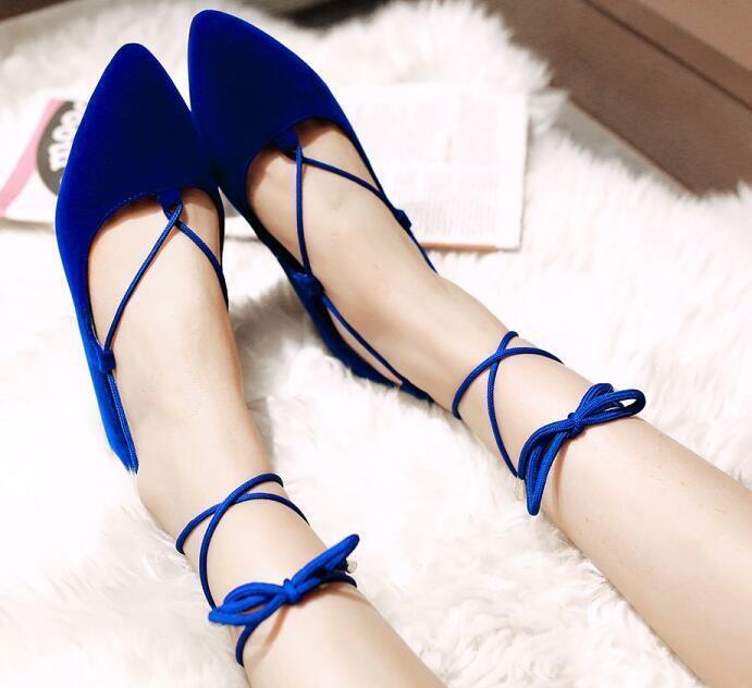 Los zapatos más populares para hombres y mujeres Descuento por tiempo limitado Ballerine mocassini scarpe donna eleganti blu tacco 1 cm comode lacci 8335