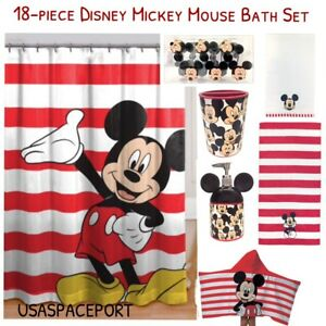 Image Is Loading 18 Piece Disney MICKEY MOUSE Complete BATH SET