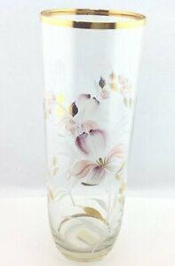 """11/"""" Glass Vase with Gold Rim"""