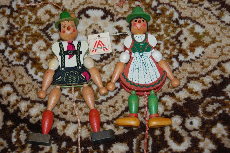 Antique 1950s Austria Tiroler Harlequin Wooden String Puppets Dolls Handmade