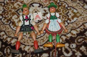 Antique-1950s-Austria-Tiroler-Harlequin-Wooden-String-Puppets-Dolls-Handmade