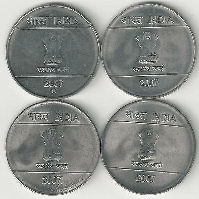 4 Different 2 Rupee Coins From India (all 2007 With Mint Marks Of B/c/h/n) Latest Fashion