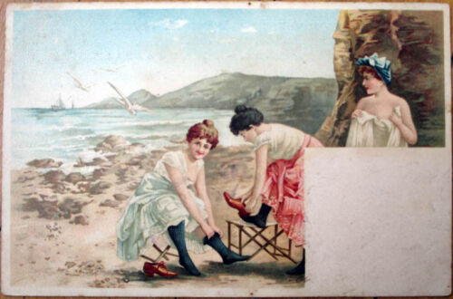 1901 Risque Postcard Bathing Beauties Changing Clothes at Beach Color Litho