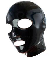 Black Latex Bondage Hood ***Non Zipper*** Pull On Back Natural Rubber