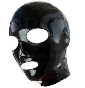 Black-Latex-Rubber-Hood-Zipper-Back-Natural-Rubber-Size-S