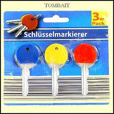 Schlüssel Markierer Kappen Key Marker Kennringe Anhänger Kennzeichnung 3 Farben