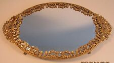 Beautiful Antique Ormolu Gold Filigree Brass Mirrored Footed Oval Vanity Tray