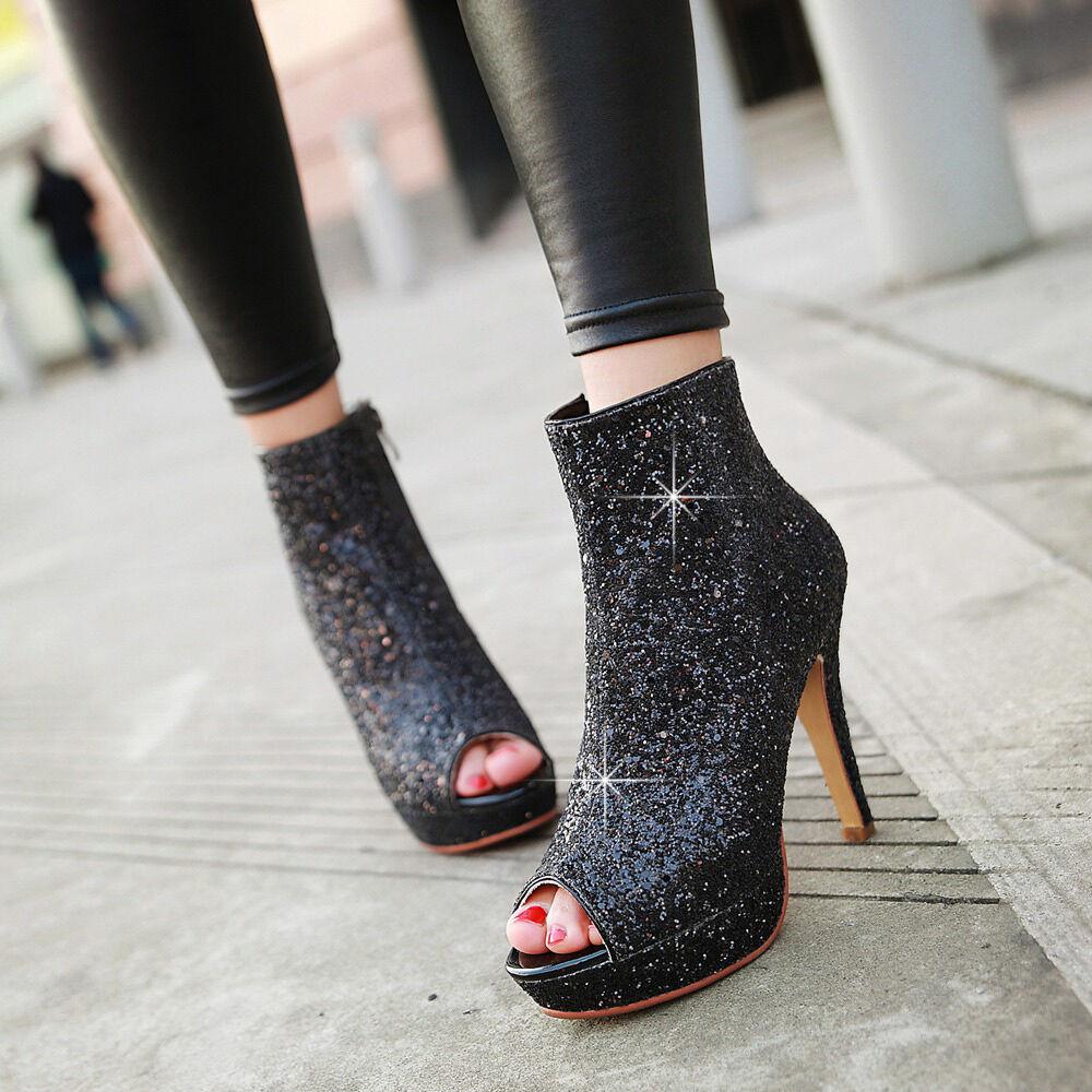 Ankle Boots Womens Sequins Peep Toe Platform 4 colors  High Heel  shoes Plus SZ