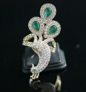 925-Sterling-Silver-Handmade-Authetic-Turkish-Emerald-Ladies-Ring-Size-6-9