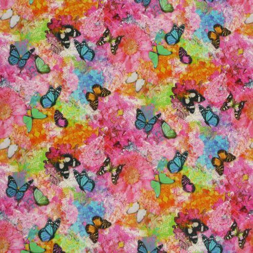 Baumwollstoff Stoff Dekostoff Digitaldruck Schmetterlinge Blumen