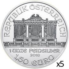 5 x 1 oz 2018 Silver Philharmonic - .999 Silver Coin - Austrian Mint