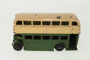 Dinky # 29c - Bus à deux étages vert / crème 1er type C / nb