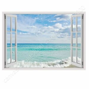 Sea And Sky By Fake 3d Window Ready To Hang Canvas Wall Art Hd