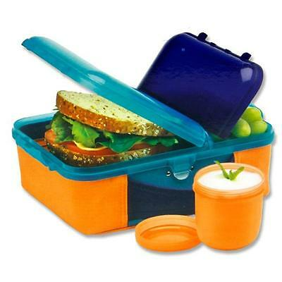Childrens Plastic Lunch Box Snack Pot and Insulated Cover with Handle