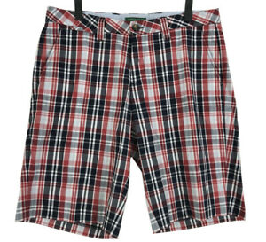 Tommy-Hilfiger-Shorts-Mens-Size-36-Red-Blue-Plaid-Flat-Front